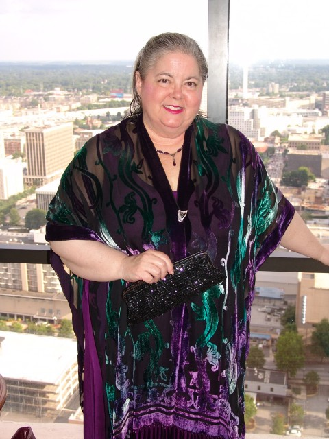 My roommate Diana Groe, who writes as Mia Marlowe, all gussied up for her Sourcebooks author party, one of TWO author parties she attended at RWA 2013 (the other was Kensington's).