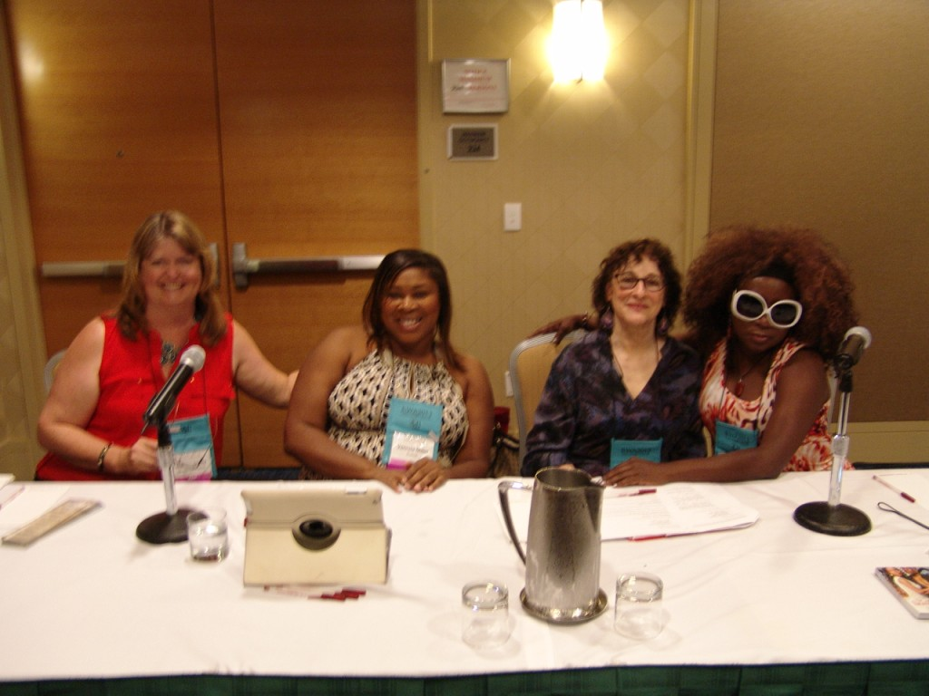 "Literary agent Natasha Kern (second from right) with authors, from left, Mary Connealy, Vanessa Miller, and Zuri Day, also known as Lutisha Lovely. Our panel was ""My Agent Saved My Life: What A Good Literary Agent Can Do For You."""