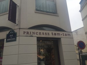 """Do the people who named this shop know that """"Princesse Tam Tam"""" is the name of one of Josephine Baker's three movies? I hear there's a swimming pool named after her in Paris, too (http://content.time.com/time/travel/cityguide/article/0,31489,1937013_1936990_1936854,00.html)--although as far as I know, she wasn't a swimmer, as well as a sign in the Montparnasse neighborhood designating an area as """"Place Josephine Baker,"""" making her the first African-American to earn this distinction. After death as in life, Madame Bakair, all but forgotten in the United States, continues to entrance the French."""