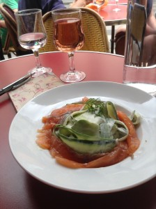 "Smoked salmon with cucumber ""tagliatelle"" and a delicious cream sauce, so good with a class of rose wine at Café du Commerce, another unpretentious haunt for locals on the Rue de Clignancourt. So delicious!"